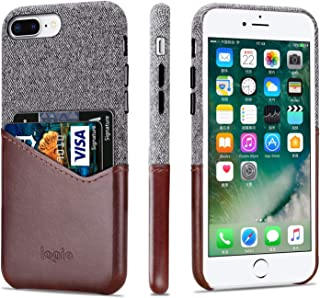 Lopie [Sea Island Cotton Series] Slim Card Case Compatible for iPhone 6s Plus and iPhone 6 Plus, Fabric Protection Cover with Leather Card Holder Slot Design, Dark Brown
