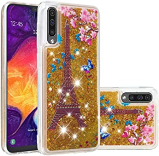 Glitter Case for Samsung Galaxy A50,QFFUN Bling Floating Liquid Quicksand Soft Clear Slim Fit Silicone Case Shockproof Transparent Protective Cover Bumper - Butterfly Tower