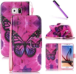 Galaxy S6 Edge Plus Case,LEECOCO Fancy Print Design Wallet Case with Card Slots Shockproof Colorful Floral PU Leather Flip Stand Case for Samsung Galaxy S6 Edge Plus A Butterfly & Rose Case