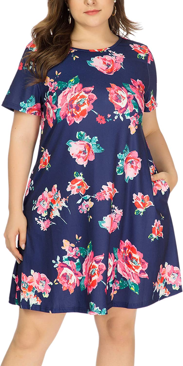HBEYYTO Women's Plus Size Short Sleeve Loose Dress Casual Swing T Shirt Dresses with Pockets (XL-5XL)