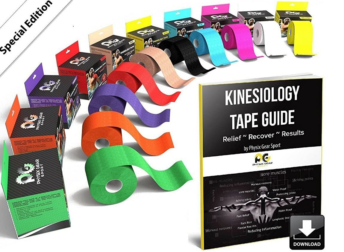Physix Gear Sport Kinesiology Tape with Free Illustrated E-Guide - 16ft Uncut Roll - Best Pain Relief Adhesive for Muscles, Shin Splints, Knee & Shoulder - 24/7 Waterproof Therapeutic Aid tl866307586