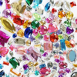 Chenkou Craft 1 Bag 100g (Around 250pcs) Assorted Colors and Shapes Acrylic Sew On Stick on Faceted Rhinestone Craft Loose...