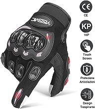 YISSVIC Guanti da Moto Guanti Moto Marchio CE 1KP Touchscreen Antiscivolo con Fori Traspiranti Uomo Per Arrampicata Alpinismo Escursioni -Nero M