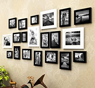 Art Street - King and Queen Set of 20 Black and White Individual Photo Frame - Mix Size (8X10-4, 6X8-2 4X6-4, 5X7-10)