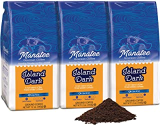Manatee Island Dark Roast Ground, 12-Ounce (Pack of 3)