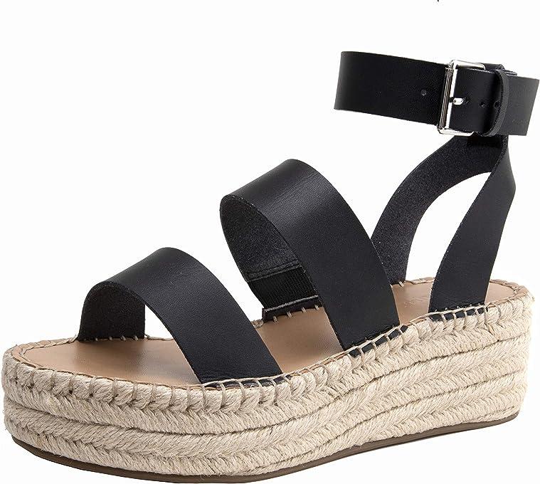 Marca Amazon - The Drop Listilla Sandalias de Esparto Con Plataforma Y Tira Al Tobillo - Espadrille Wedge Sandal Mujer