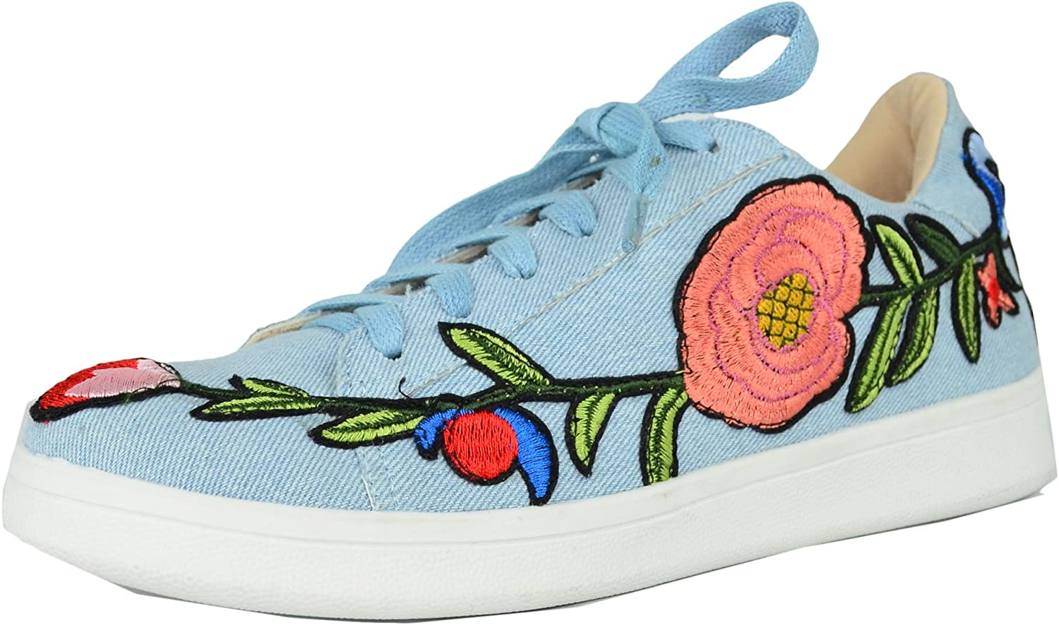 Chase & Chloe Women's Floral Embroidered Platform Fashion Sneakers