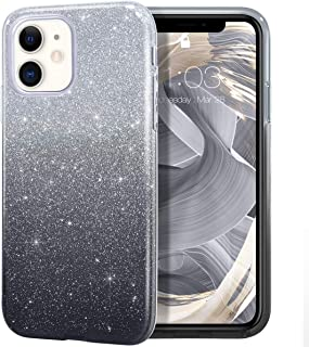 MILPROX iPhone 11 Case, Bling Sparkly Glitter Luxury Shiny Sparker Shell, Protective 3 Layer Hybrid Anti-Slick Slim Soft Cover for iPhone 11 6.1 inch (2019)-Black Gradient