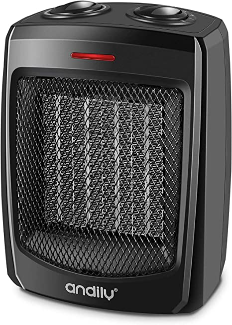 andily Space Heater Electric Heater for Home and Office Ceramic Small Heater with Thermostat, 750W/1500W: image