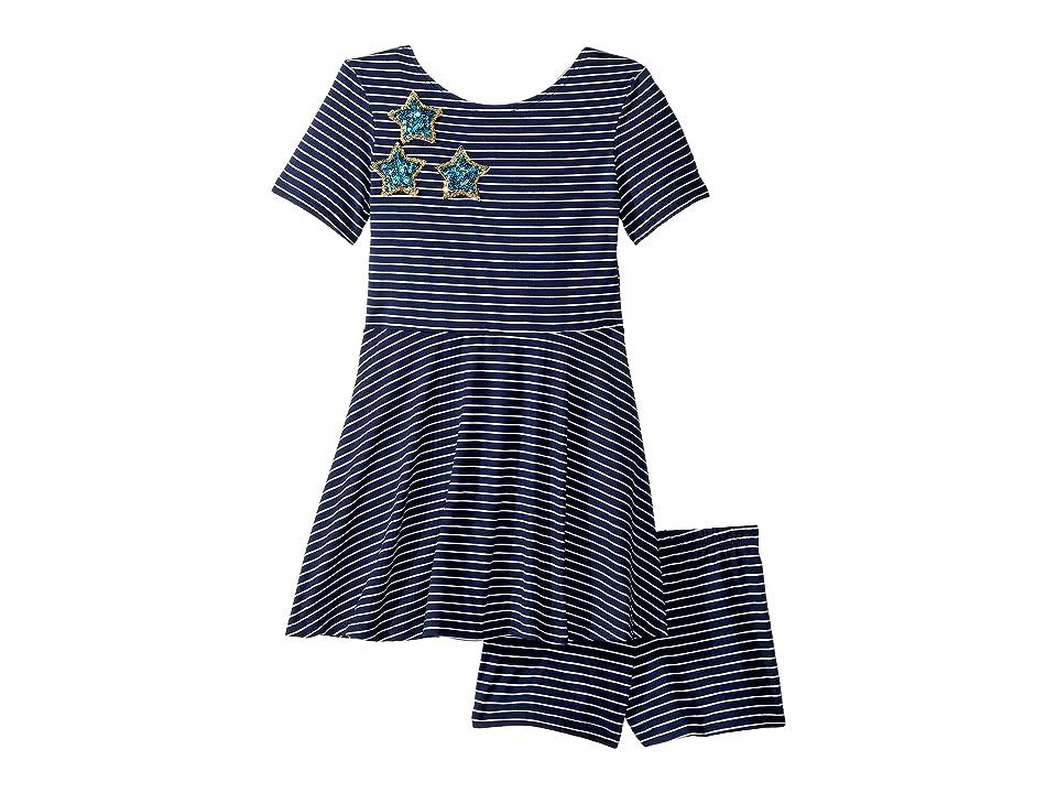 fiveloaves twofish Play Skater Stripe Stars Dress (Toddler/Little Kids) (Navy) Girl