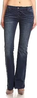 WAX / Jack David JEANS Womens Juniors 70s Trendy Slim Fit Flared Bell Bottom Denim Jean Pants