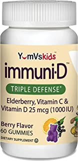 Immuni-D Elderberry Gummies for Kids by YumVs | Immune Support, Vitamin C & Vitamin D | Complete Immune System Support | N...