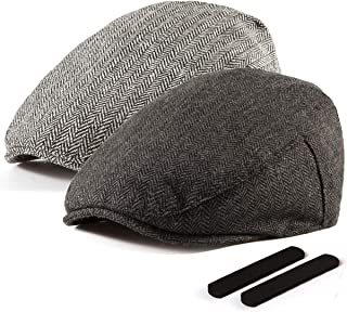 2 Pack Newsboy Hats for Men Wool Scally Cap Mens Flat Cabbie Ivy Tweed S/M/L/XL