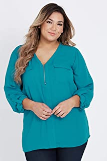 Beme 3/4 Sleeve Zip Front Pocket Shirt - Womens Plus Size Curvy