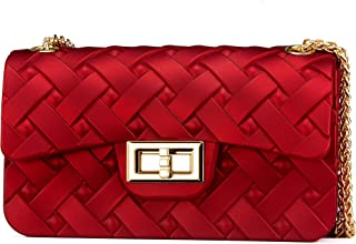 Elios Red Classic Quilted Stylish Fashionable Partywear Dresswear Silicon Crossbody Sling Bag With Golden Chain For Women And Girls