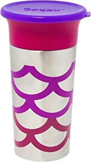 Sassy Stainless Steel 360 Grow-Up Cup Spout Less Sippy Cup with Travel Lid, 9 oz, Pink/Purple