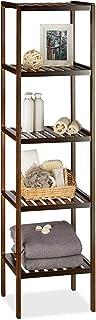 Relaxdays Etagère de salle de bain en bambou meuble de cuisine 5 niveaux HxlxP: 139,5 x 34,5 x 33 cm, brun foncé