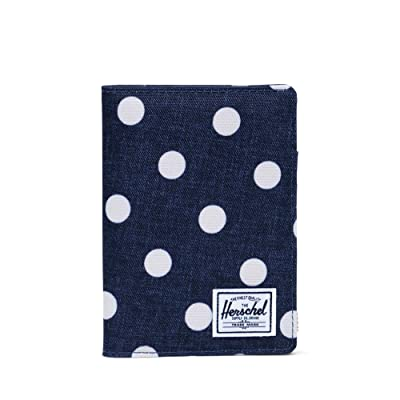 Herschel Supply Co. Raynor Passport Holder RFID (Polka Dot Crosshatch Peacoat Small) Wallet Handbags