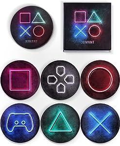 Jumant Gaming Coasters Set of 6 - Playstation Coasters - Gaming Decor - Cool Coasters - Gamer Room Decor - Gamer Coasters - Gaming Room Decor - Gamer Gifts - Video Game Room Decor