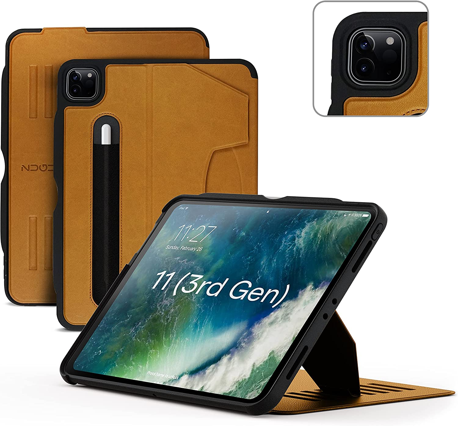 ZUGU Case for 2021/2020 iPad Pro 11 inch Gen 2/3 - Slim Protective Case - Wireless Apple Pencil Charging - Convenient Magnetic Stand & Sleep/ Wake Cover - Cognac Brown