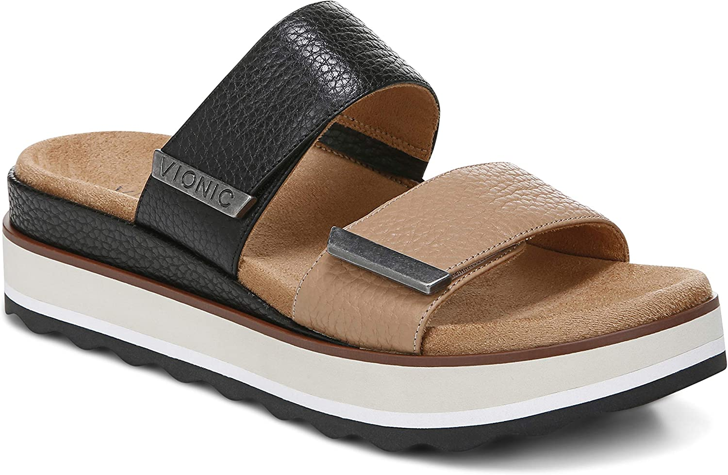 Vionic Women's Phoenix Brandie Slide Platform Sandal- Supportive Slip on Flatform Sandals that include Three-Zone Comfort with Orthotic Insole Arch Support, Medium Fit Sandals for Women