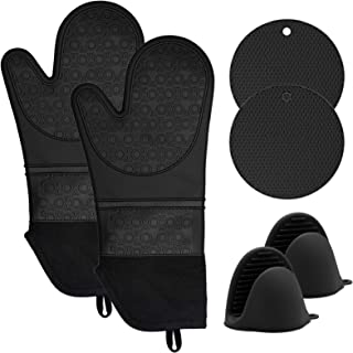 KOHSEN Silicone Oven Mitts and Pot Holders Set - 6 Piece Set with 2 Hot Pads-Heat Resistant to 450℉-Extra Long 15 Inch Pro...