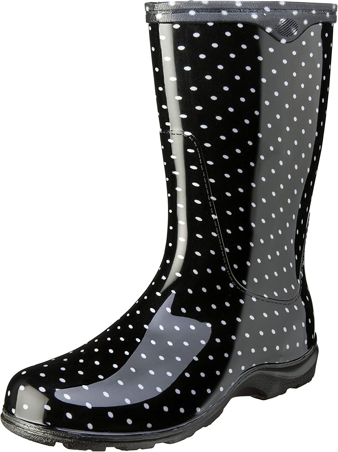 Sloggers Women's Waterproof Rain and Garden Boot with Comfort Insole, Black/White Polka Dot, Size 7, Style 5013BP07