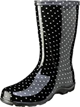 Sloggers Women's Waterproof Rain and Garden Boot with Comfort Insole, Black/White Polka Dot, Size 8, Style 5013BP08