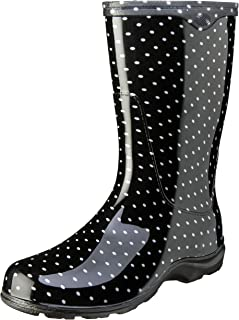 Sloggers Women's Waterproof Rain and Garden Boot with Comfort Insole, Black/White..