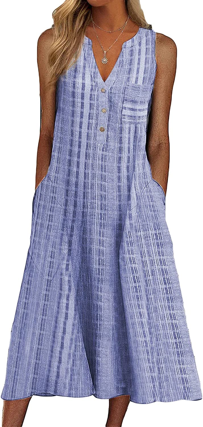Womens V Neck Plaid Casual Dresses Summer Button Down Loose Midi Dress Sun Dresses with Pockets