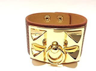 Gold Pyramid Stud European Leather Cuff Bracelet - Brown Color