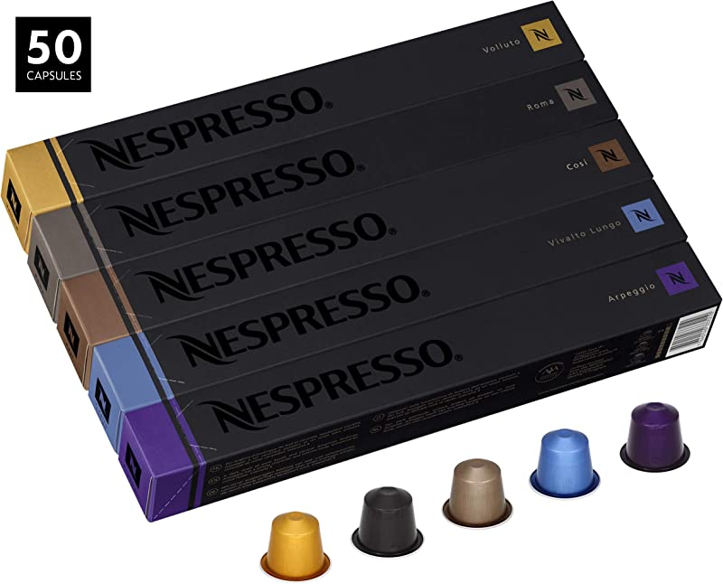 Nespresso Variety Pack OriginalLine Capsules 50 Count Espresso Pods Assorted Light Split Roasts 5 Coffee Flavors Include Volluto Roma Cosi Vivalto Lungo Arpeggio
