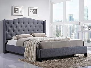 Cadre de lit Annabelle en bois avec tête de lit capitonné rembourré, tissu gris, 180 x 200 cm, montage facile