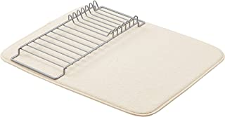 "AmazonBasics Dish Drying Rack and Mat - 16"" x 18"" - Linen & Nickel"