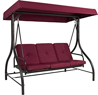 Best Choice Products 3-Seat Converting Outdoor Patio Canopy Swing Hammock – Burgundy