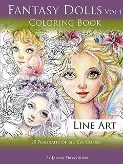Fantasy Dolls Vol.1 Coloring Book Line Art: 25 Portraits of Big Eye Cuties