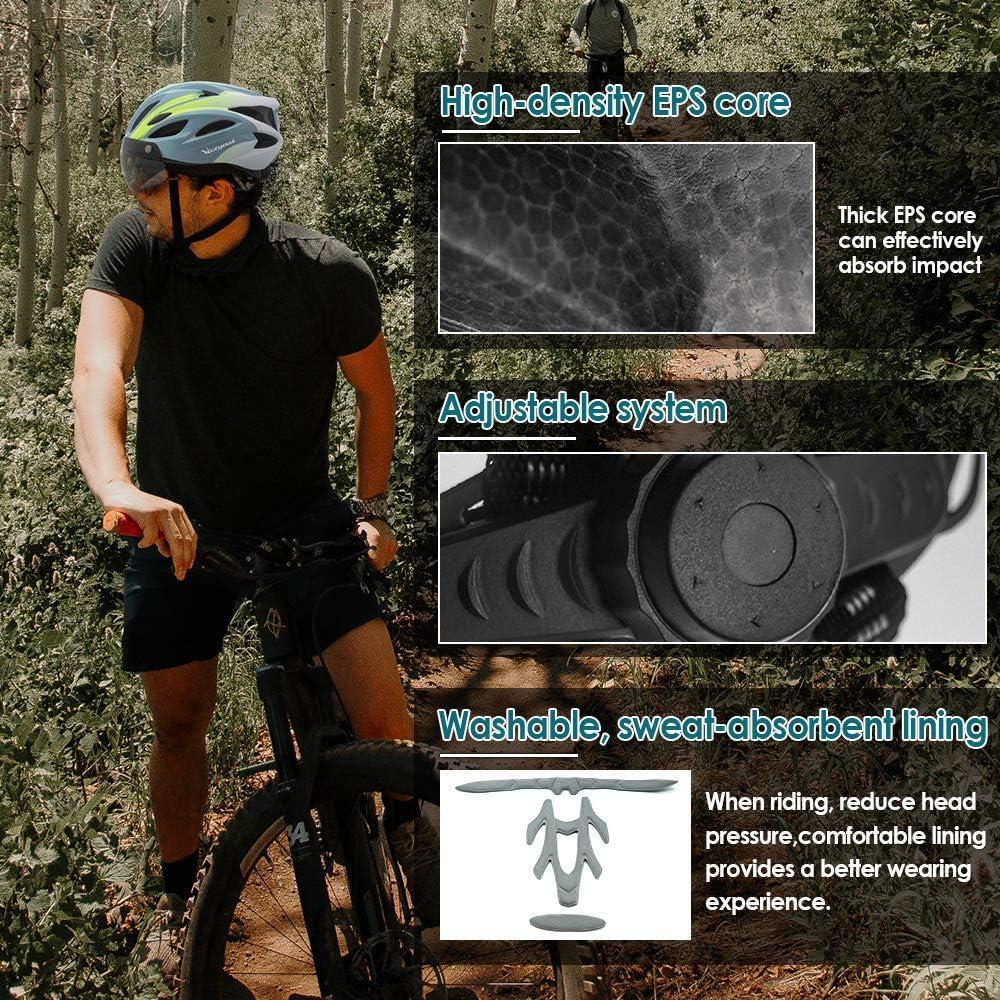 VICTGOAL Casco Bici con Luce di LED Occhiali Magnetici Rimovibili Leggero Casco Bici da Corsa per Uomo Donna 57-61 CM