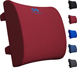 Everlasting Comfort Lumbar Support Pillow for Office Chair - Pure Memory Foam Back Cushion for Car (Red)