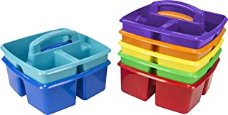 Storex Classroom Caddy, 9.25 x 9.25 x 5.25 Inches, Assorted Colors, Case of 6 (00940U06C)