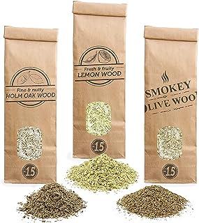 Smokey Olive Wood Sow 3X 300mL selección de virutas de Madera: Olivo, encina y limonero. Talla Nº1.5: para Pistola ahumadora