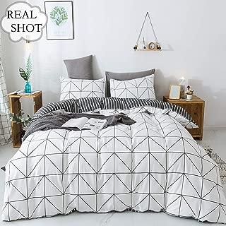 Emily Girl Black and White Geometric Cotton 3 Piece Duvet Cover Set King Chevron Bedding Sets 103 x 90 with Zipper Closure Corner Ties