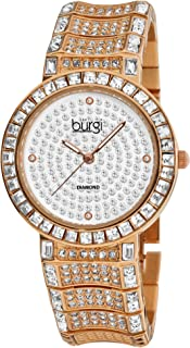 Burgi Women's BUR060 Analog Display Japanese Quartz Two Tone Watch with a Sparkling Crystal Dial and Bracelet