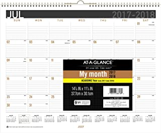 """at-A-Glance Academic Monthly Wall Calendar, July 2017 - June 2018, 14-7/8"""" x 11-7/8"""", Wirebound, E-Z Read (AY8X28)"""