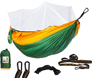 Ryno Tuff Camping Hammock with Mosquito Net - Double Hammock with Bug Net, Reinforced Not to Tear But Still Lightweight, Extra Pocket, Safe Tree Straps, and Heavy Duty Carabiners Included.