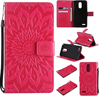Lg Stylo 3 Case, Lg Stylus 3 Case, Lg Stylo 3 Plus Case,Pu Magnetic Flip Folio Wallet Case [Durable] Lightweight Kickstand Folding Case with Card Holder Xmas Gift for Daughter-Sunflower Red