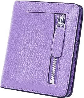 BIG SALE-AINIMOER Women's RFID Blocking Leather Small Compact Bifold Pocket Wallet Ladies Mini Purse with id Window (Pink)