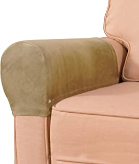 subrtex Velvet Armchair Covers Spandex Stretch Armrest Covers Anti-Slip Furniture Protector Armchair Slipcovers for Sofa w...