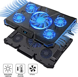 Wsky Laptop Cooler, Ultra Slim 12''-17'' inch Laptop Cooling Pad with 5 Quiet Fans and Blue LED Light, Dual 2 USB 2.0 Ports, Adjustable Mount Stand Height Angle