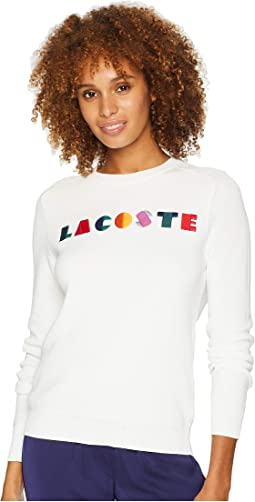 Long Sleeve Lacoste Graphic Cotton Ribbed Sweater