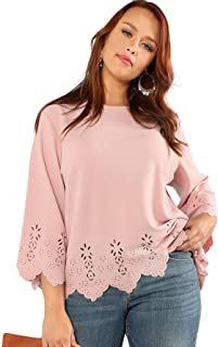 Women's Plus Size Hollow Out Scallop Hem 3/4 Sleeve...
